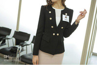 China (Mainland) Blazers Dress Suit Black Women button office lady blazer business suit women S-XL size korean suit women blazer jacket