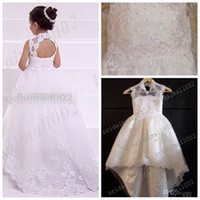 Wholesale Pageant Lace Beaded Flower Girl Dresses With A Train Embroidery Hot Sale New Girls Gown