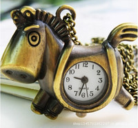 Wholesale Hottest Vintage Pocket Watch Brass Horse Type Necklace Pendant Gifts Watch Pocket Watch WYW