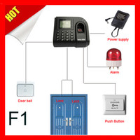 Wholesale zksoftware F1 Fingerprint time attentence with access control system door sensor exit button alarm