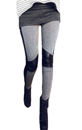 Wholesale Women Fashion Faux Leather Cotton Inset Ankle Length Footless Legging Tregging Tight
