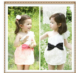 Wholesale phelfish girls rose dresses children pink cream sleeve dress with bow sarababy