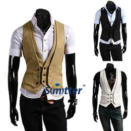 Wholesale PATTERN NEW MENS CASUAL FIT SLEEVELESS VEST KHAKI BLACK WHITE BUTTONS