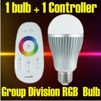 Wholesale E27 E26 B22 Lamp base W G Group Division Touch Screen Remote Control Color Changing LED RGB Bulb