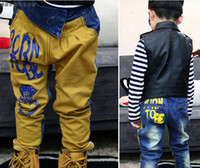 Wholesale ISSOKIDS children s garment pants boy girl jeans denim trousers letter stamp