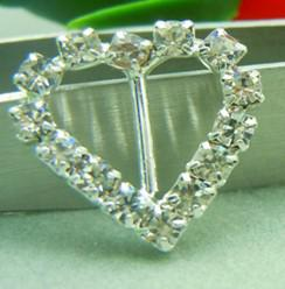 Wholesale 17mm Small Heart mm Bar Rhinestone Buckle Invitation Ribbon Slider Wedding Supply