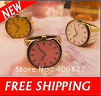 Fashion Rings China (Mainland) Fashion Small Finger Ring With Watch Clock Shape And Candy Color Rings Free Shipping