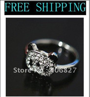 Women's Party Pave setting Korean Fashion Lovely Silver Plated CZ Crystal Panda Bear Ring