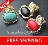 Cluster Rings Fashion Rings Vintage Gold Tone Bohemian Oval Gemstone Ring with Olive Blue Black Red Stone Rings Free Shipping