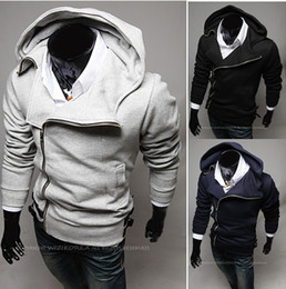 Wholesale 2013 NEW HOT Men s Slim Diagonal zipper Hooded Hoodies amp Sweatshirts Jacket Sweater Coat
