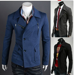 Wholesale Hot men s Jacket Slim Korean metrosexual Multiple zippers men s casual suit Outerwear blue