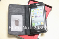 Wholesale 20P Retro Black Book Design Book Leather Wallet case for iphone Credit Card Holder