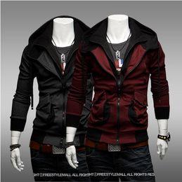 Wholesale 2013 NEW HOT Men s Slim Mixed colors Personalized pocket Thin Hoodies amp Sweatshirts Jacket Coat