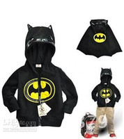 Wholesale Children s fashion upper outwear baby long sleeved batman hoody coat boy s zipper hoodies jacket