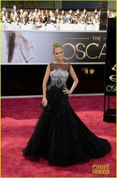 Wholesale Kristin Chenoweth Oscars Red Carpet Sleeveless Black Tulle Beaded Celebrity Dresses