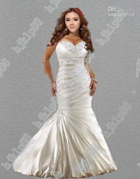 Wholesale Hot Sale New Sexy Mermaid Sweetheart Plus Size Wedding Dresses Satin Embroidery Wedding Dress Actua
