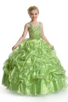 Reference Images Toddler Beads Customized Grass Green Square Corset Girl's Pageant Dresses Organza Beaded Pleated Long Ball Gown Affordable Lace Up Flower Girl's Dresses
