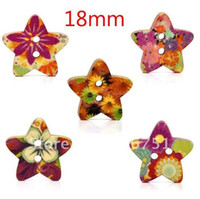 other   100 Random Mixed Star Shape Wood Sewing Buttons Scrapbook 18x17mm Knopf Bouton(W01434 X 1)