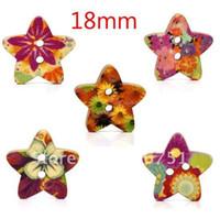 Cheap 100 Random Mixed Star Shape Wood Sewing Buttons Scrapbook 18x17mm Knopf Bouton(W01434 X 1)
