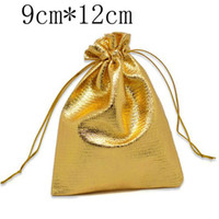 Wholesale Gold Plated Satin Fabric Gift Bags With Drawstring x9cm W01812 X