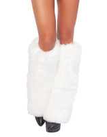 Wholesale Cosplay Costumes Accessories Leg Warmers Furry Faux Fur Boot Covers For Womens Winter Costume Uniforms Outfits