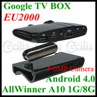 Wholesale EU2000 Google TV BOX Android AllWinner A10 G GB MP Camera And Mic HDMI AV Output with Stand