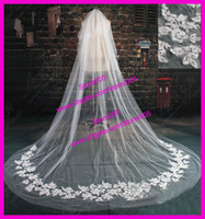 Wholesale Ivory Chapel Long Two Layers Lace Edge Appliques Tulle Bridal Wedding Veils V160