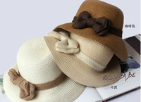 Wholesale 2013 New Arrival Hats Knitted Spring Summer Bowknot White Beige Brown Colors
