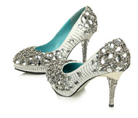 Wholesale White Diamond Custom Made High Quality Shinning Pearl Upper Stiletto Heel Wedding Pumps Party Shoes