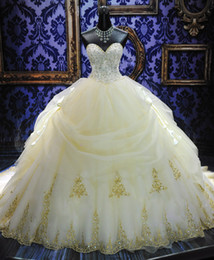 2017 Luxurious White A-Line Sweetheart Wedding Dresses Lace-up Cathedral Train Beaded Lace Bodice Skirt Bridal Gowns MC1314