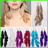 Wholesale Handmade Long Feather Drop Dangle Earrings Eardrop Earings Fashion Charm