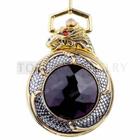 Wholesale Gold dragon alloy mechanical movement pocket watch LPW252