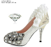 Wholesale 2 Colors Kinds Diamond High Quality Shinning Pearl Upper Stiletto Heel Wedding Pumps Party Shoes