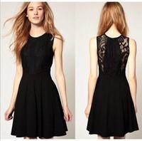 Round beautiful women mini skirts - New Hepburn classic black women skirt lace thin dress fashion beautiful lady girl one piece dress