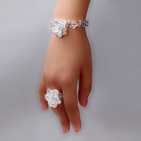 Wholesale hot sell new BEST girl gift silver fashion loverly flower Ring Bracelet set jewelry