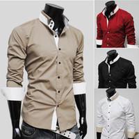 Wholesale New Korea Men s Shirts Mixed Colors Mens Slim shirts mens long sleeve shirts
