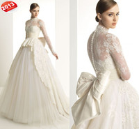 Wholesale 2013 New Luxury Long Sleeve Wedding Dress High Neck Ball Gown Bowknot Button Tulle Lace Wedding Gown