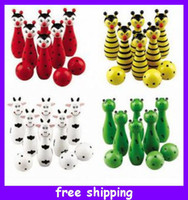 Wholesale Cute Wooden Animal Bowling Toy Design Bowling Balls Game Baby Intellectual Toys Children Gift