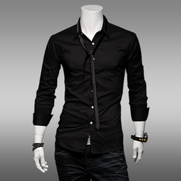 Wholesale men s Shirts Slim Korean Long sleeve shirt Pocket patch mercerized cotton Send tie Shirts black