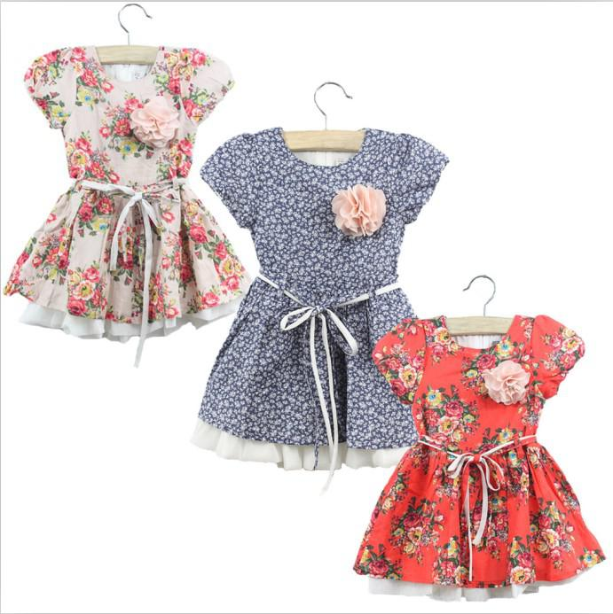 2017 New Summer Girls Baby Flower Dresses Children Girls Clothes ...