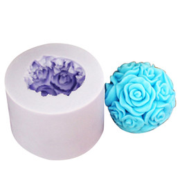 Wholesale LZ0091 new D silicone candle mold moulds rose flower ball candle crafts molds