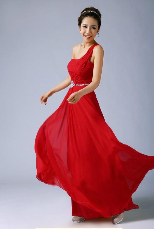 Red One Shoulder Cocktail Dress - Ocodea.com
