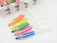 Wholesale 30pcs Novelty Liquid Syringe Highlighter Watercolor Pen Stationery Hospital Medical BP013