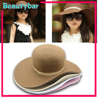 Wholesale FAshion Girl Child Large Brim Beach amp Sun Summer Straw Hat