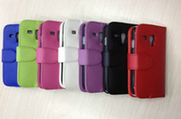 Wholesale New Leather Color Wallet Book Case Cover Pouch for SAMSUNG i8190 GALAXY S3 MINI