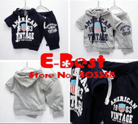 Wholesale 2013 New Design sets Baby Boy soft tracksuits Short Sleeves clothing set Hooded T shirt short