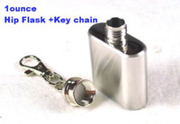 Wholesale 1oz ml Stainless Steel Pocket Hip Liquor Vodka Whiskey Flask Frosted finished with key chai