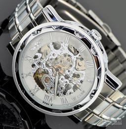 Wholesale Hombres pulidos de plata reloj hueco de la cara blanca relojes mecánicos de lujo