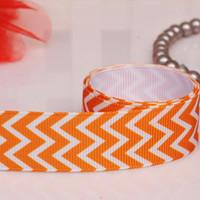 chevron fabric - orange chevron ribbons grosgrain ribbon hairbows printed ribbon Polyester Fabrics and Sewing Tools