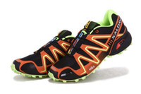 Wholesale NEW colors Black orange Salomon shoes outdoor sports men s cross country running shoes